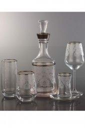 Kristal 12 Kişilik 61 Parca Dekorlu İçecek Takımı Helena Gümüş