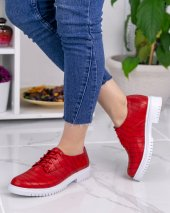 Abbie Kırmızı Cilt Desenli Oxford Ayakkabı-2