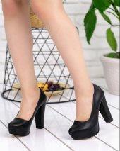Nita Siyah Cilt Platform Topuk Ayakkabı