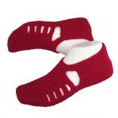 El Yapımı Bayan Patik Çorap Bordo Renk