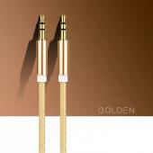 Altın Uçlu Araç içi Stereo Aux Kablo 1Mt 3.5mm Kaliteli Kablo-2
