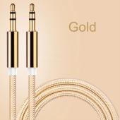 Altın Uçlu Araç içi Stereo Aux Kablo 1Mt 3.5mm Kaliteli Kablo-4