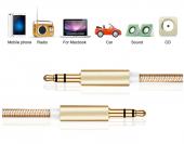 Altın Uçlu Araç içi Stereo Aux Kablo 1Mt 3.5mm Kaliteli Kablo-5