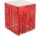 Masa Kenarı Eteği Fonsüs Metalize Yerli Kırmızı...