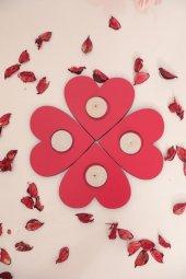 Dekoratif Amaçlı Kalp 4 Mumluklar