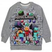 Minecraft Baskılı Erkek Çocuk Mevsimlik Sweatshirt Gri Maycraft Tişörtü