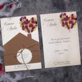 Balonlu Sıradışı Şirin Düğün Davetiyesi Elt63675 100 Adet