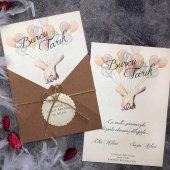 Balonlu Romantik Düğün Davetiyesi Elt63683 100...