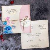 Özel Zarflı Sade Düğün Davetiyesi ELT63688 - 100 Adet