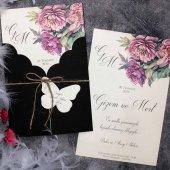 Siyah Zarflı Kelebekli Düğün Davetiyesi Elt63695 100 Adet