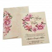 çiçekli Düğün Davetiyesi Kl10510 100 Adet
