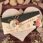 çiçek Motifli Davetiye Ela74750 100 Adet