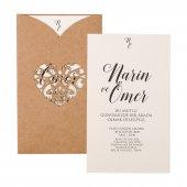 Kraft Lazer Düğün Davetiyesi Pe22375 100 Adet