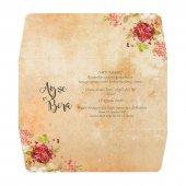 Çiçekli İlginç Düğün Davetiyesi PE22439 - 100 Adet-2