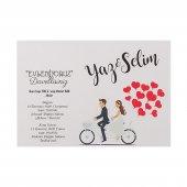 Kalpli Bisiklet Düğün Davetiyesi PE22452 - 100 Adet-2