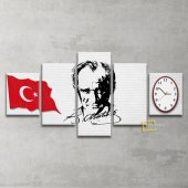Atatürk Panosu Saatli Kanvas Tablo