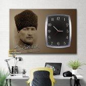 İmzalı Atatürk Saatli Kanvas Tablo-2