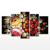 Renkli Çiçekler 5 Parça Kanvas Tablo
