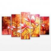 çiçekli 5 Parça Kanvas Tablo