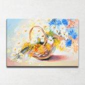 Sepetteki Çiçekler Kanvas Tablo