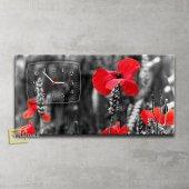 çiçekli Saatli Kanvas Tablo