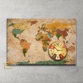 Dünya Haritası Saatli Kanvas Tablo 60x90 Cm.