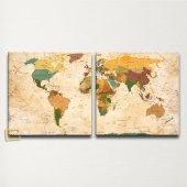 Siyasi Dünya Haritası Kanvas Tablo