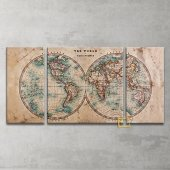 Vintage Dünya Haritası 3 Parça Kanvas Tablo
