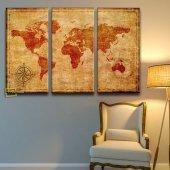 Vintage Dünya Haritası 3 Parça Kanvas Tablo-2