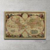 Vintage Dünya Haritası Dekoratif Kanvas Tablo