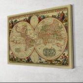 Vintage Dünya Haritası Dekoratif Kanvas Tablo-2