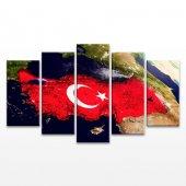 Uydudan Türkiye 5 Parça Kanvas Tablo