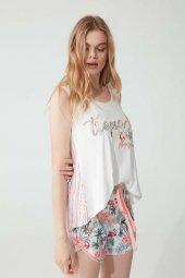 Feyza 3783 Kadın Şortlu Pijama Takımı Ekru