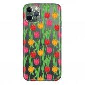 iPhone 11 Pro 5.8 inch  Kılıf Desenli Esnek Silikon Telefon Kabı Kapak - Renkli Çiçek