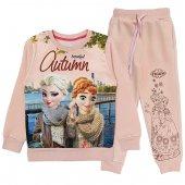 Kışlık Kız Çocuk Frozen Eşofman Takımı Somon Renk 3 - 9 Yaş Aralığı