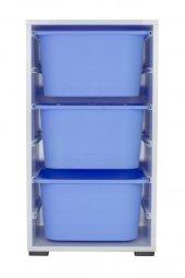 3 Mavi Derin Sepetli Oyuncak Dolabı
