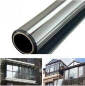 6x50 6 M Metre X 50 Cm Santimetre Gümüş Renkli Aynalı Çizilmez Amerikan Cam Filmi Seti + Uygulama Aparatları Dıştan Ayna Görünümlü Ev Ofis Oto Araç Araba İş Yeri Otomobil Pencere Balkon Duşakabin Bina İçi