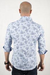 Deepsea Mavi Açık Kendinden Çiçek Desenli Kol...