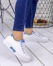 Seny Beyaz Cilt Mavi Detaylı Spor Ayakkabı