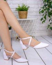 Sahra Beyaz Cilt Topuklu Ayakkabı