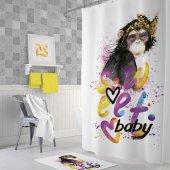 Zethome Tropik Sweet Baby Banyo Duş Perdesi Tek Kanat 1x180x200