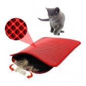 Elekli Kedi Tuvalet Önü Paspası Kırmızı