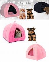 Pet Hut Kedi Köpek Polarlı Peluş Evi-kulübesi-yatağı-minderi (pembe)