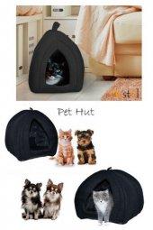 Pet Hut Kedi Köpek Polarlı Peluş Evi-kulübesi-yatağı-minderi (siyah)-2