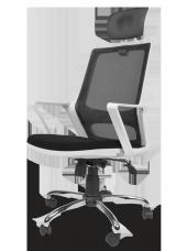 Ofis fileli müdür beyaz kasa büro sandalye lüks estetik koltuk