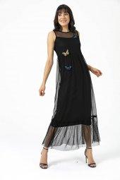 Liplipo Kelebek Detaylı Tül Astarlı Elbise