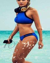 Angelsin Mavi Şık Tankini Bikini Üst