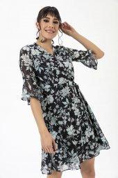 Liplipo Çiçek Desen Kruvaze Yaka Elbise