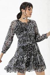 Liplipo Beli Lastikli Desenli Elbise