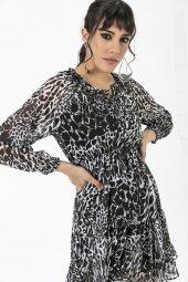 Liplipo Beli Lastikli Desenli Elbise-4